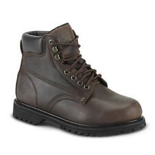 "New Mens Brown 6"" Plain Toe Leather Work Steel Toe Boots BAT-610 Size 6-12 (D,M)"