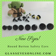 12 Pair 6mm to 10mm Flat Disc Black Safety Eyes, Nose, Button, No Pupil  RBE-1