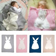 New Crocheted Sofa Beach Quilt Rug Baby Knitting Wool Rabbit Bunny Blanket