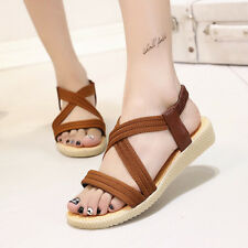 Womens Open Toe Flat Elastic Strappy Sandals Casual Summer Beach Shoes Size