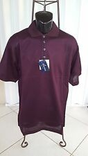 New Mens Ancona Golf Shirt  Wine Made In Italy Double Mercerized Egyptian Cotton