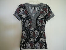 BCBG Max Azria Black Gray Brown Jersey Top Sz XS XXS