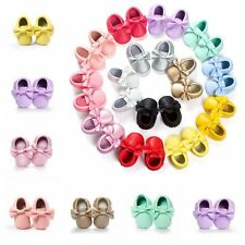 Toddler Baby Kid Soft Sole Crib Suede/Leather Shoes Boy Girl Cute Canvas 0-18M