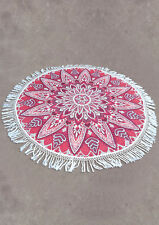 Holiday Travel Gym Camping Pool Cover Ups Floral Tassel Round Blanket Towel