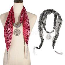 Women Leopard Pattern Scarf Necklace with Jewelry Pendant and Silver Tassels