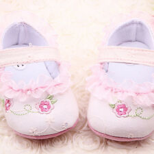 Toddler Baby Girls Princess Shoes Lace Flower Crib Shoes Pre-walker First Shoes