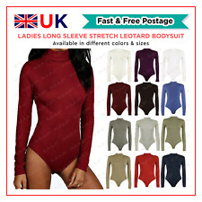 Women Polo Turtle Neck Ladies Long Sleeve Stretch Leotard Bodysuit Swimming Top