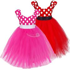 Girls Toddler Polka Dots Fancy Dress Up Costume Party Wedding Minnie Tulle Dress