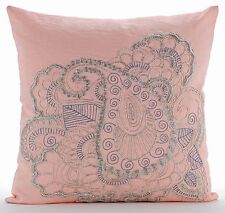 Beaded Indian Paisley Pink Cotton Linen 26x26 Euro Pillow Cases - Paisley Beauty
