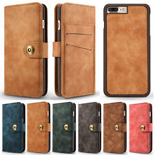Magnetic Detachable 2 in 1 Vintage Genuine Leather Flip Wallet Case For iPhone 7
