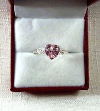 3.51ct Lolly Pink & White Cubic Zirconia 925 Sterling Silver Heart Ring