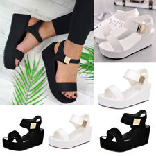 Woemn Ladies Summer Platforms & Wedges Heel Sandal Ankle Strap Peep Toe Shoes