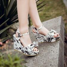 Floral Womens Wedge Heels Shoes Ankle Strap Casual Dating Platform Sandals Sizes