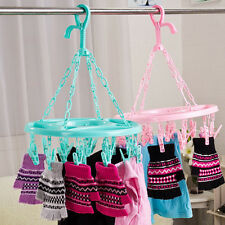 Round Hanging Dryer 18 Clips Pin Laundry Clothes Hanger Underwear Socks Foldable