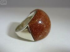 Stunning large & Unusual Sandstone Sterling Silver Dome Ring