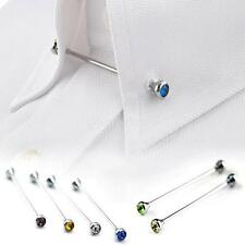 Mens Collar Cravat Tie Clip Clasp Bar Skinny Fashion Wedding Crystal Jewelry