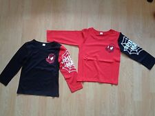 BOYS SPIDERMAN LONG SLEEVE LIGHT WEIGHT T-SHIRT AGE 2-6 YEARS BLACK OR RED