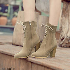 Korean Roman Womens Faux Suede Lady High Chunky Heel Ankle Boots Lace-up Shoes