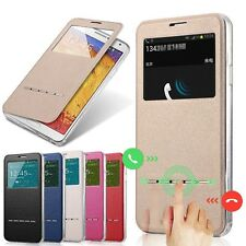 Slim Flip Window View Leather Smart Case Cover For iPhone Samsung LG Google E