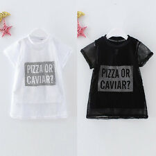 2pcs Kids Baby Boys Girls Summer T Shirt Tank Vest +Mesh Tops Shirts Twin Set