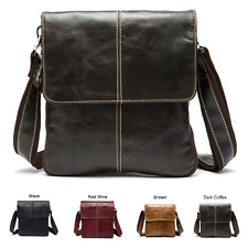 NEW Men Women Genuine Leather Shoulder Bag Messenger Crossbody Tablet Handbag