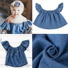 Toddler Kids Baby Girl Cotton Casual Off Shoulder T-shirt Top Blouse Clothes