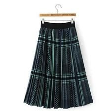 Women's Green wave point Design Elegance Pattern Pleated skirt Loose waist Dress