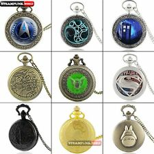 Antique Stainless Case Pocket Watch Vintage Quartz Necklace Chain Pendant Gift