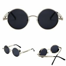 Retro Sunglasses Professional Metal Frame Round Lens Steampunk Glasses Rock Mens