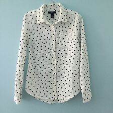 Gap Kids Girl's Long Sleeve White & Black Heart Print Shirt Blouse Size L XL XXL