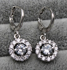 18K White Gold Filled - Round Hollow White Topaz Zircon Lady Gems Hoop Earrings
