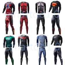Black Red Deadpool Mens Superhero Compression T-shirts Leggings Long Pants Tops