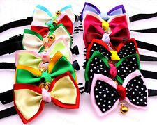 Handmade Pet Puppy Dog Cat Bowtie 2 Layers Adjustable with Bells Dog Cat Collar