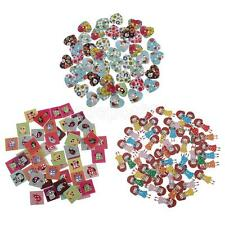 50pcs Mixed Cartoon Wooden Buttons for Sewing Crafting Colorful Painting Decor