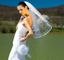 NEW Ivory White 1 Tier Elbow Bride Wedding Veil Satin Edge With Comb