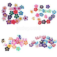 20Pcs Handmade Mixed Polymer Clay Blossom Flower Spacer Loose Bead Crystal Charm