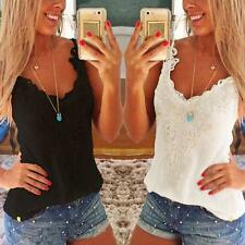 Women Summer Slim Vest Shirt Lace Crochet Camisole Tank Top Blouse Oversize CA