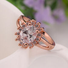Stunning Fancy 18K Rose Gold Plated Noble Clear Crystal Inlay Ring Jewelry H332