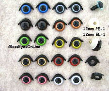 8mm to 12mm Safety Eyes With Eye Lids 10 Pair Mix Colors Teddy Bears, Dolls PEEL