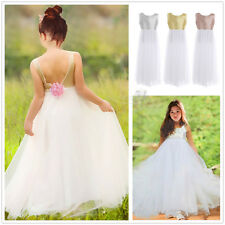 Sequined Flower Girl Dress Princess V-back Pageant Wedding Bridesmaid Party Gown