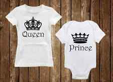 Queen & Prince - Adorable Matching Mom Shirt & Son Onesie Baby Shower Gift Set