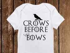 """Game of Thrones Inspired Onesie  """"Crows before Bows"""" unisex Baby - Infant Funny"""