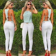 Mint Ladies Open Back Design Chiffon Tops Summer Cut Out Spaghetti Strap Blouse