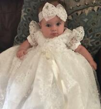 White Bow knot Baptism Dresses Infant Baby Girl Dress Christening Gowns