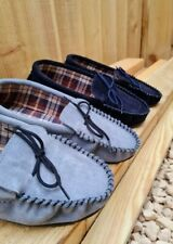 Lambland Mens British Made Sheepskin Suede Moccasin Slippers with Fabric Lining