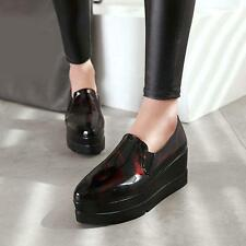 High Platform Creepers Womens Wedge Heel Oxford Casual Pumps Patent Shoes F1.156