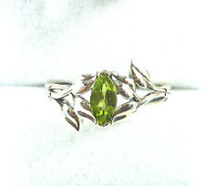 0.61 ctw Genuine Peridot Antique Finish Solid 925 Sterling Silver Ring