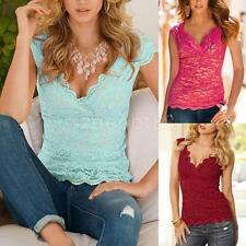 Sexy Women's Girl V Neck Plain Stretch Tank Top Slim Floral Lace Blouse T-shirts