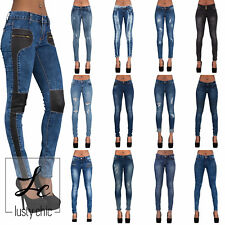 NEW SEXY WOMENS CELEB RIPPED BIKER LOOK JEANS STRETCH PANTS SIZE 6 8 10 12 14