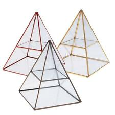 Geometric Pyramid Glass Jewelry Trinket Box Display Holder Storage Organizer